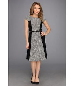 Anne Klein Textured Knit and Jersey Fit & Flare Dress