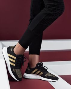 ff630162156 Adidas Women s Swift Run Sneakers Gold Outfit
