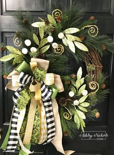 Green and Gold Piney Evergreen Wreath