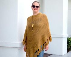 Knit ponchos and sweaters Mohair Throws by MyCozyBoutique on Etsy