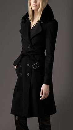 Long Fur Collar Cashmere Trench Coat