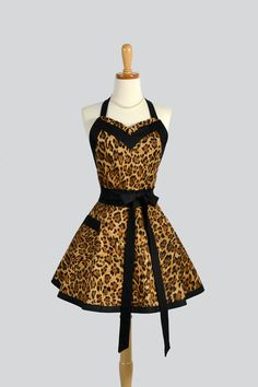 Sweetheart Retro Apron , Sexy Womens Kitchen Apron in a Wild and Flirty Leopard Print by CreativeChics