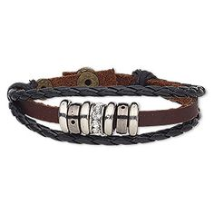 """Bracelet, leather (dyed) / glass rhinestone / polyurethane / silver-coated acrylic / antique brass-plated steel / gunmetal- / silver-plated """"pewter"""" (zinc-based alloy), black / brown / clear, wide, adjustable at 6 and 7 inches with snap closure. Fashion Bracelets, Jewelry Bracelets, Horse Hair Jewelry, Leather Dye, Horsehair, Antique Brass, Black And Brown, Rhinestones, Beads"""