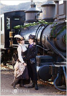 Steampunk Engagement Photos in Golden Colorado