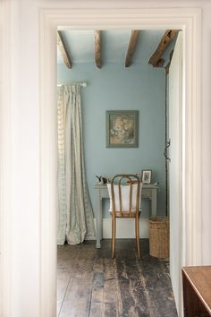 Obsessed. That blue. That floor. Love. | Lunch & Latte: interior design: Walnuts Farm