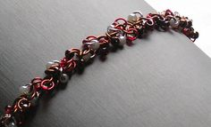Chainmaille Bracelet - Shaggy Loop Weave in Brown and Red - Enchanted Moon