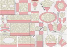 Precioso Kit Provenzal en Rosa, Gris y Blanco para Imprimir Gratis.