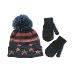 c9c93b03d02 ABG Accessories Baby Stars and Stripes Cuffed Acrylic Winter Hat with Pom  and Matching Mitten Set