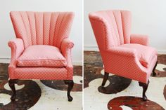 An antique channel back armchair we sourced and sold to a client. Our client selected a coral semi-solid from Calico for the redo and kept the channel back detailing.
