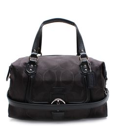 Look at this Coach Black Campbell Signature Large Metallic Satchel on #zulily today!