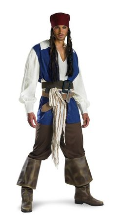 Classic Captain Jack Sparrow Shirt with attached vest, fabric sash, two belts with attached buckles, pants and bandana with with beaded braids. (boot covers not included)