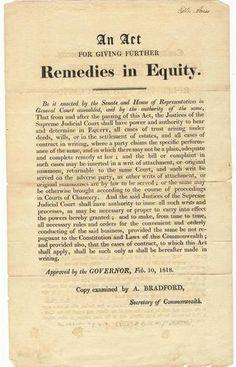 1818 Massachusetts Broadside Remedies in Equity
