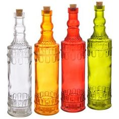 Colored Glass Bottles with Cork Stoppers, 12¼