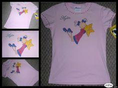 camiseta pintada a mano niña estrella