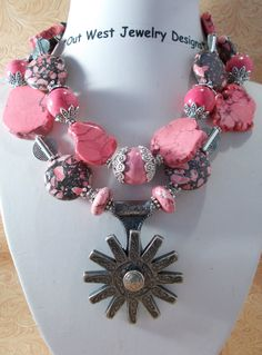 Cowgirl Necklace Set  Chunky Pink Howlite by Outwestjewelry, $59.95