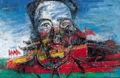 CHINA: ZENG FANZHI. Tiananmen.Overlaying the image of Beijing's infamous landmark with an iconic portrait of Mao, Zeng's Tiananmen directly confronts China's tenuous relationship with its recent history. Using bright bold colours, Zeng's painting resolves as a discomforting composite of irony and optimism, fusing the veneration of revolutionary heroicism with the uncertainty of a rapidly developing future.