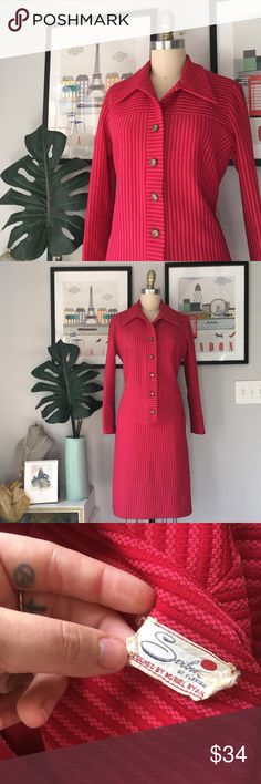 "VTG•Striped Shirtdress Gorgeous ruby red & pink shirt dress for the indie darling. Excellent condition. Early 1960s. No size tag — shown on my size 4/6 dress form unpinned. Best fits medium. PLEASE see measurements to ensure the best fit! No fiber content tag... I'm going to assume it's polyester!   BUST 20"" Across WAIST 18"" HIPS 19.5"" LENGTH 40"" Vintage Dresses Long Sleeve"