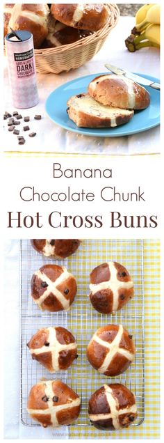 Banana Chocolate Chip Hot Cross Buns recipe - a delicious new flavour idea for the traditional hot cross bun, with dairy free version too!