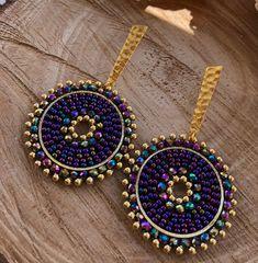 Beaded Earrings Patterns, Seed Bead Earrings, Diy Earrings, Earrings Handmade, Handmade Jewelry, Beaded Necklace, Bead Jewellery, Bohemian Jewelry, Wire Wrapped Jewelry