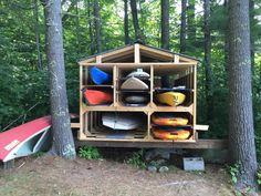 Kayak Storage Shed toy shed - Diy Kayak Storage, Boat Storage, Diy Wood Projects, Woodworking Projects, Lake Toys, Kayak Rack, Lake Cabins, Canoe And Kayak, Outdoor Fun
