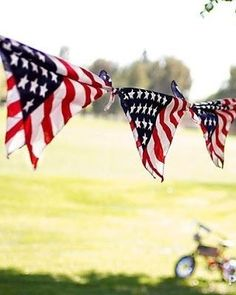 Tie flag-print handkerchiefs to string to create an easy bunting. | 31 Last-Minute Fourth Of July Entertaining Hacks