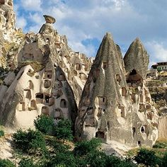 Anatolian Houses. Cappadocia. Millions of years ago volcanoes created this amazing landscape, and since biblical times the people who settled there have carved their homes and communities from the volcanic rock.