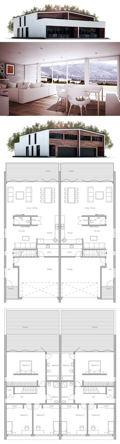 Duplex House Plan in Modern Architecture. Suitable to narrow lot.