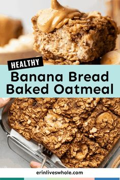 Give this healthy banana bread baked oatmeal recipe a try for breakfast when you're looking for something easy, quick, and protein packed! Made with rolled oats, ripe bananas, and a little maple syrup for natural sugar. Make Banana Bread, Healthy Banana Bread, Healthy Cake, Banana Bread Recipes, Healthy Breakfast Recipes, Brunch Recipes, Healthy Recipes, Healthy Desserts, Healthy Meals