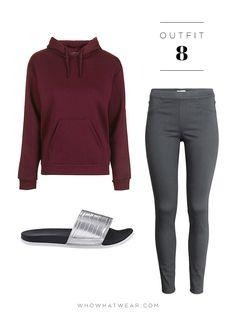 Hoodie + Treggings + Sporty Slides Topshop Basic Hoodie ($45); H&M Slim-Fit Leggings ($18); Adidas Adilette Silver Slides ($25).