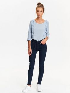 SPODNIE DŁUGIE DAMSKIE OBCISŁE Black Jeans, Skinny Jeans, Model, Pants, Tops, Fashion, Trouser Pants, Moda