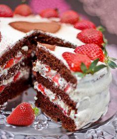 Simple Strawberry Cake- beautiful chocolate and strawberry cake