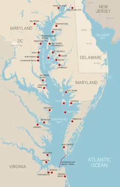 Chesapeake Bay map with places to visit.