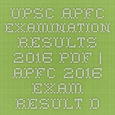 UPSC APFC Examination Results 2016 pdf | APFC 2016 Exam Result Declared Download @ www.upsc.gov.in - |Recruitment Result Admit Card| |Application Form |Answer Key | Cut Off|