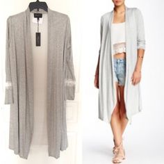 Romeo & Juliet Couture Gray Long Cardigan Beautiful long cardigan for Fall with details in lace on mid sleeves. It has a sheer back in white fabric. Super fresh and girly. Romeo & Juliet Couture Sweaters Cardigans