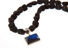 Black Lava beads baroque shape, Labradorite pendant, all Sterling Silver