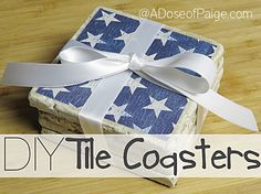 These DIY Coasters are super easy to make! And very durable! All you'll need is some mod podge, scrapbook paper, tiles, acrylic sealing spray and some felt fo… Leftover Tile, Felt Squares, Tile Projects, Craft Projects, Project Ideas, Tile Crafts, Vintage Tile, Diy Coasters, Patriotic Decorations