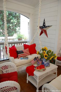 Porch decorated for The Fourth Of July! Love this cute porch! 4th Of July Party, Fourth Of July, How To Make Piping, 4th Of July Decorations, House Decorations, Americana Decorations, Decks And Porches, Front Porches, Front Deck