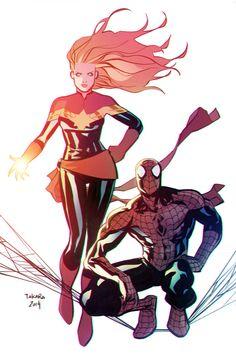 commission - CaptainMarvel/Spider-Man by marciotakara.deviantart.com on @deviantART