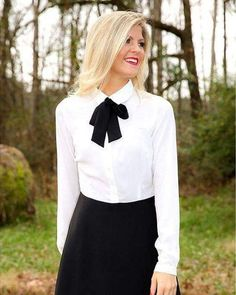 https://flic.kr/p/Jvf2R1 | Dressed For Work Black Skirt White Shirt And Black Bow