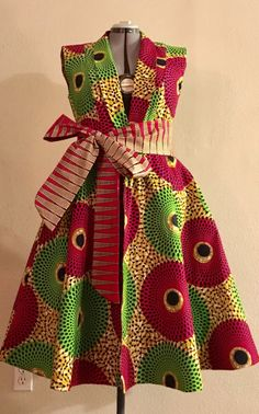 Reversible African Wax Print Sleeveless Jacket Dress by WithFlare