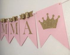 Princess birthday banner crown name by FancyFunctionDesigns Baby Girl Birthday, Princess Birthday, Princess Party, Baby Shower Princess, Pink Princess, Shower Banners, Party Kit, Baby Decor, Birthday Decorations
