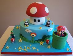 Super Mario cake by cakespace - Beth (Chantilly Cake Designs), via Flickr | Super Mario Brothers Nintendo NES