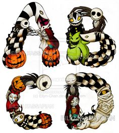 The Nightmare Before Christmas font (process) by Eilyn-Chan on deviantART