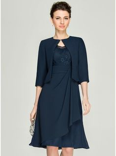 A-Line/Princess V-neck Knee-Length Cascading Ruffles Zipper Up Sleeves Sleeves Yes 2015 Dark Navy Spring Summer Fall General Plus Chiffon Lace Mother of the Bride Dress Mob Dresses, Fashion Dresses, Bride Dresses, Halter Dresses, Dresses 2016, Girl Fashion, Summer Dresses, Vestidos Mob, Bride Groom Dress