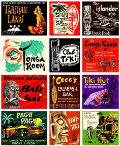 This TIKI TIME Digital Printable Collage Sheet Vintage Tiki is just one of the custom, handmade pieces you'll find in our clip art shops. Tiki Art, Tiki Tiki, Easter Island Statues, Hawaian Party, Vintage Tiki, Vintage Hawaii, Vintage Labels, Vintage Signs, Tiki Bar Decor