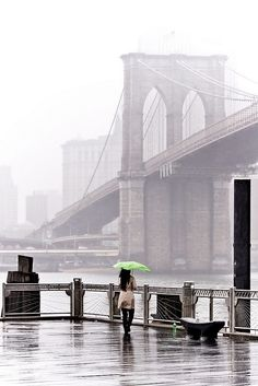 Rainy day by the Brooklyn Bridge