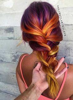 Tropical Sunset Hair Color Idea