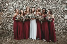 Rewritten Bridesmaids Dresses For A Stylish Wedding At Sussex Barn Norfolk With Bride In Laure De Sagazan And Images From Benjamin Wheeler