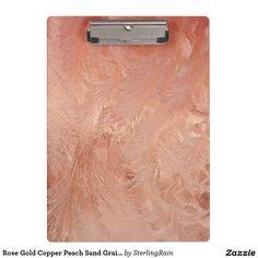 Rose Gold Copper Peach Sand Grain Swirl Metallic Clipboard
