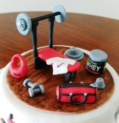 Gym fondant Toothbrush Holder, Fondant, Gym, Food Cakes, Excercise, Gum Paste, Gymnastics Room, Gym Room, Candy
